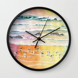 Sandpipers on Beach Wall Clock