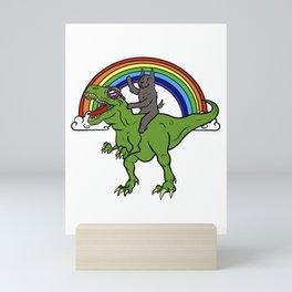 Scottish Terrier Riding T-Rex Dinosaur  Mini Art Print