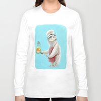 "sloths Long Sleeve T-shirts featuring Sloths Are Bad At Things- Henri the Chef! by Megan ""Tillette"" Jones"