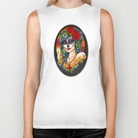 day of the dead Biker Tanks featuring Day of the Dead by Little Lost Forest
