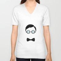 nerd V-neck T-shirts featuring Nerd by Mathieu Duparcq