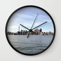 toronto Wall Clocks featuring Toronto by Angela Fang