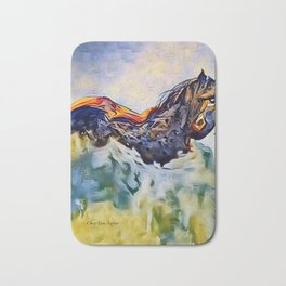 Wild Horse in Sea of Grass watercolor by CheyAnne Sexton Bath Mat