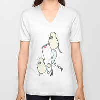 poodle V-neck T-shirts featuring Proudly Poodle by miba