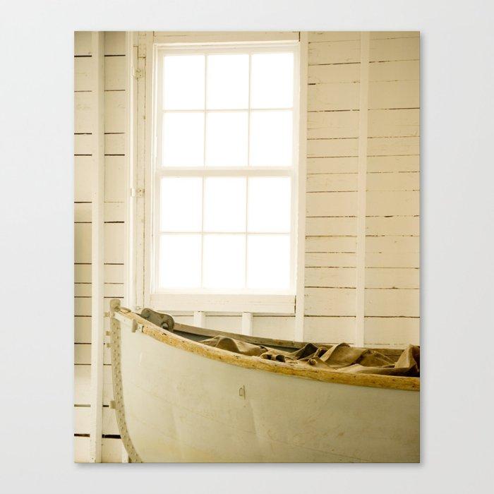 Boathouse Nautical Vintage Boat Yellow Gold White Canvas Print