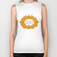 pie Biker Tanks featuring Pumpkin Pie by Laura Maria Designs