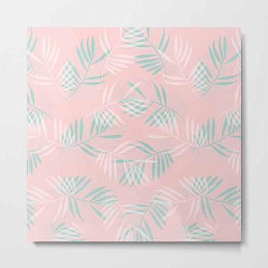 Palm Leaves Lace on blush Metal Print