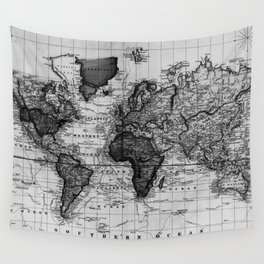 Vintage Map of The World (1833) White & Black Wall Tapestry