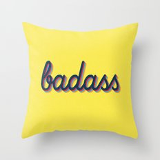 Badass - yellow version Throw Pillow