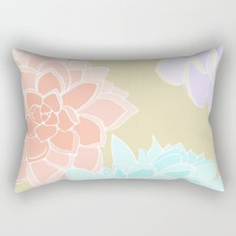 Vintage 3 Colored Succulents Rectangular Pillow