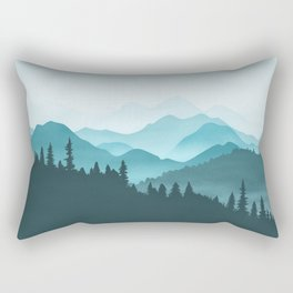 Teal Mountains Rectangular Pillow
