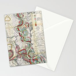 Vintage Map of the Mississippi River Stationery Cards