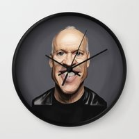 celebrity Wall Clocks featuring Celebrity Sunday ~ Michael Keaton by rob art | illustration