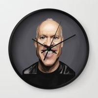 birdman Wall Clocks featuring Celebrity Sunday ~ Michael Keaton by rob art | illustration