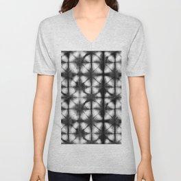Shibori Itajime black and white Unisex V-Neck