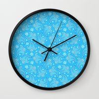 pacific rim Wall Clocks featuring Pacific Rim - Otachi Flower pattern by feriowind
