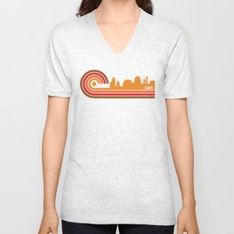 Retro Style Tempe Arizona Skyline Unisex V-Neck