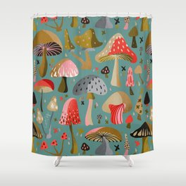 Mushroom Collection – Mint Shower Curtain