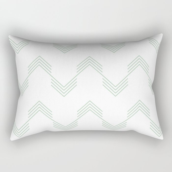 Deconstructed Chevron in Pastel Cactus Green on White Rectangular Pillow
