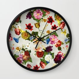 Flowery (white version) Wall Clock