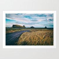 Iceland Deserted Rural Road Near Ocean Art Print