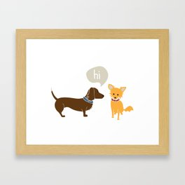 Bosco the Dachshund greets Pipsqueak the Jack Chi Mix Framed Art Print