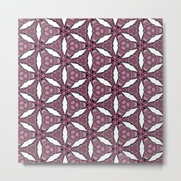 White Abstract Geometric Flower Pattern Metal Print