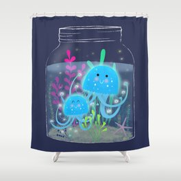 Vacation Memories With Jellyfish In A Jar Shower Curtain