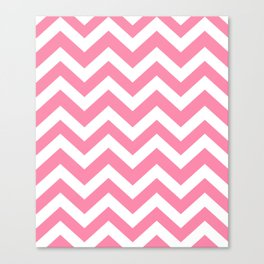 Tickle Me Pink - pink color - Zigzag Chevron Pattern Canvas Print