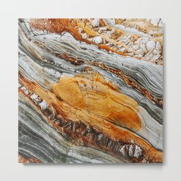 Gray Copper Marbled Petrified Wood Metal Print