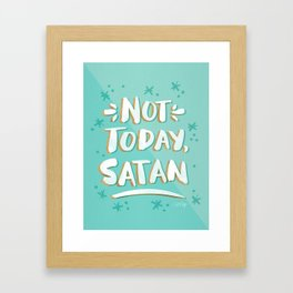 Not Today, Satan – Mint & Gold Palette Framed Art Print