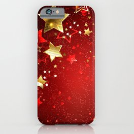 Gold Star on a Red Background iPhone Case