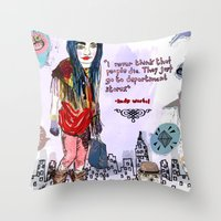 saga Throw Pillows featuring Department Store Saga by Olive Primo Design + Illustration