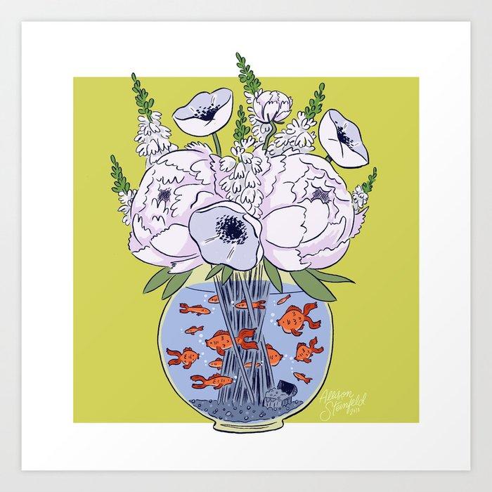 Goldfish Flowers Art Print