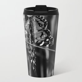 American Lady Butterfly in Black and White Travel Mug