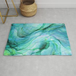 Sea Green Flowing Waves Abstract Ink Painting Rug