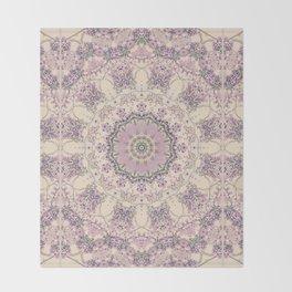 47 Wisteria Circle - Vintage Cream and Lavender Purple Mandala Throw Blanket