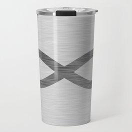 Infinity Symbol On Brushed Metal Texture Travel Mug