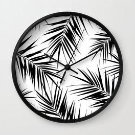 Palm Leaves Cali Finesse #3 #BlackWhite #tropical #decor #art #society6 Wall Clock
