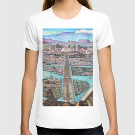 Mural of the Aztec city of Tenochtitlan by Diego Rivera T-shirt