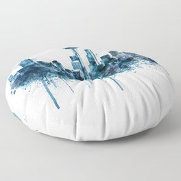 Seattle Skyline monochrome watercolor Floor Pillow