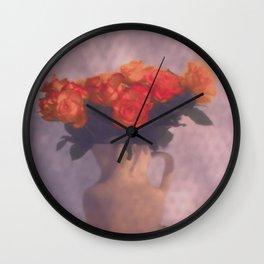 Milk jar and roses Wall Clock