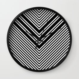Back and White Lines Minimal Pattern No.1 Wall Clock