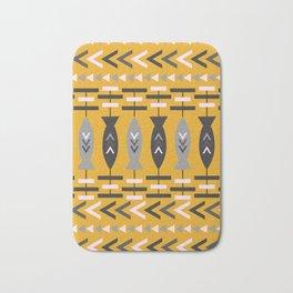 Aztec pattern with fish- ochre Bath Mat