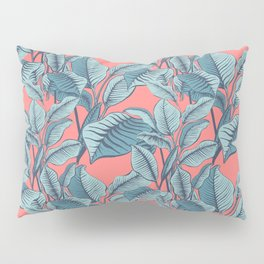 Pink Exotic Tropical Banana Palm Leaf Print Pillow Sham