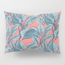 Pink Exotic Tropical Banana Palm Leaf Print Pillow Sham