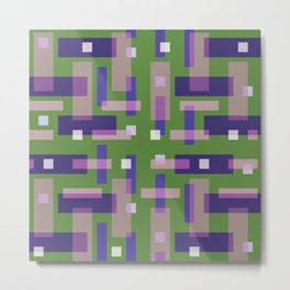 Purple and Green Block City Metal Print