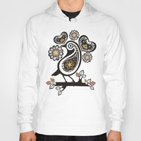 scandinavian Hoodies featuring Scandinavian meets paisley bird hearts flowers by The Big M Ranch