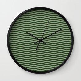 Dark Forest Green Chevron Zigzag Stripes Wall Clock