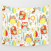 mod Wall Tapestries featuring Mod Owls by Jeannine Feierbach Designs